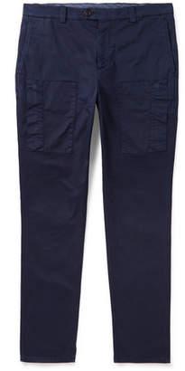Brunello Cucinelli Herringbone Stretch-Cotton Cargo Trousers - Navy