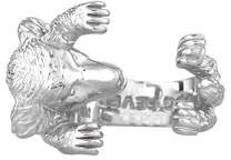 Golden Retriever Dog Fever Silver Dog Hug Ring, Size 8