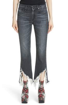 R 13 Frayed Kick Fit Jeans