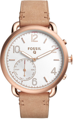 Fossil Q Women's Tailor Light Brown Leather Strap Hybrid Smart Watch 40MM FTW1129 $195 thestylecure.com