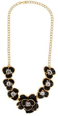 Kenneth Jay Lane Black Enamel Crystal Flower Necklace
