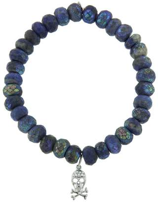 Sydney Evan Diamond Skull On Lapis Beaded Bracelet