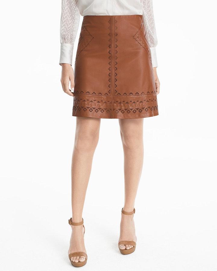 Laser Cut Leather Skirt - ShopStyle Australia