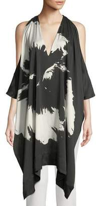 Urban Zen Splash Flower Cold-Shoulder Draped Silk Tunic