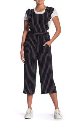 Bobeau Striped Ruffle Apron Cropped Jumpsuit