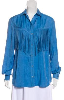 Torn By Ronny Kobo Fringed Button-Up Top