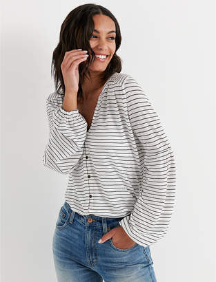 Lucky Brand BUTTON FRONT PUFF SLEEVE