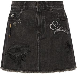 Marc Jacobs - Embellished Appliquéd Denim Mini Skirt - Black $495 thestylecure.com