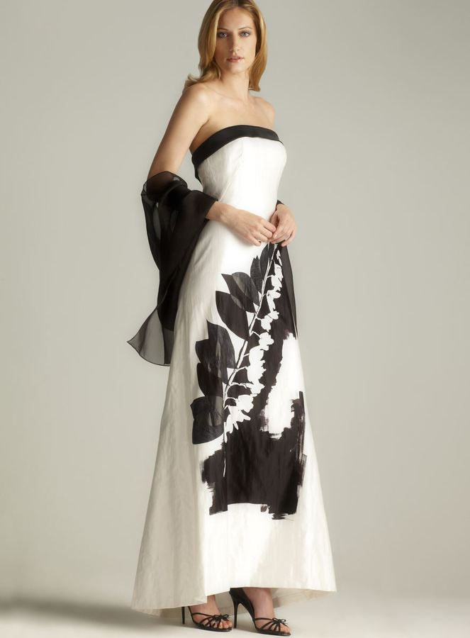 Theia Strapless Full Length Evening Gown With Shawl