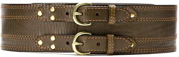 Women's Double Buckle with Contrast Stitch Waist Belt