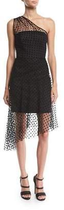 Milly Sonia 1-Shoulder Flocked Dot Tulle Dress