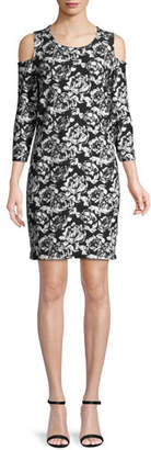 Joan Vass Cold-Shoulder Floral-Print Dress, Plus Size