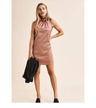 Dynamite Sleeveless Dress With Neck Detail COGNAC