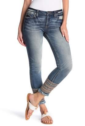 Miss Me Mid Rise Medium Wash Embroidered Ankle Skinny Denim