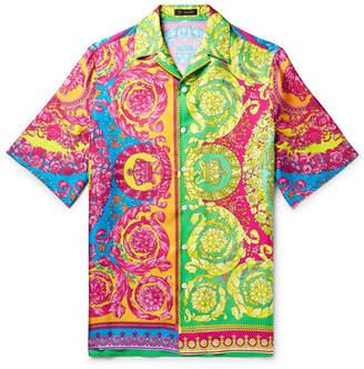 34849127 Versace Oversized Camp-Collar Printed Silk-Twill Shirt