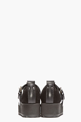 McQ by Alexander McQueen Black Suede Buckled Platform Creepers