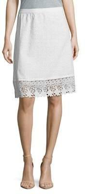 Isaac Mizrahi IMNYC Eyelet & Lace Fit & Flare Skirt