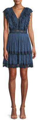 Alice + Olivia Landora Pleated Tiered Dress