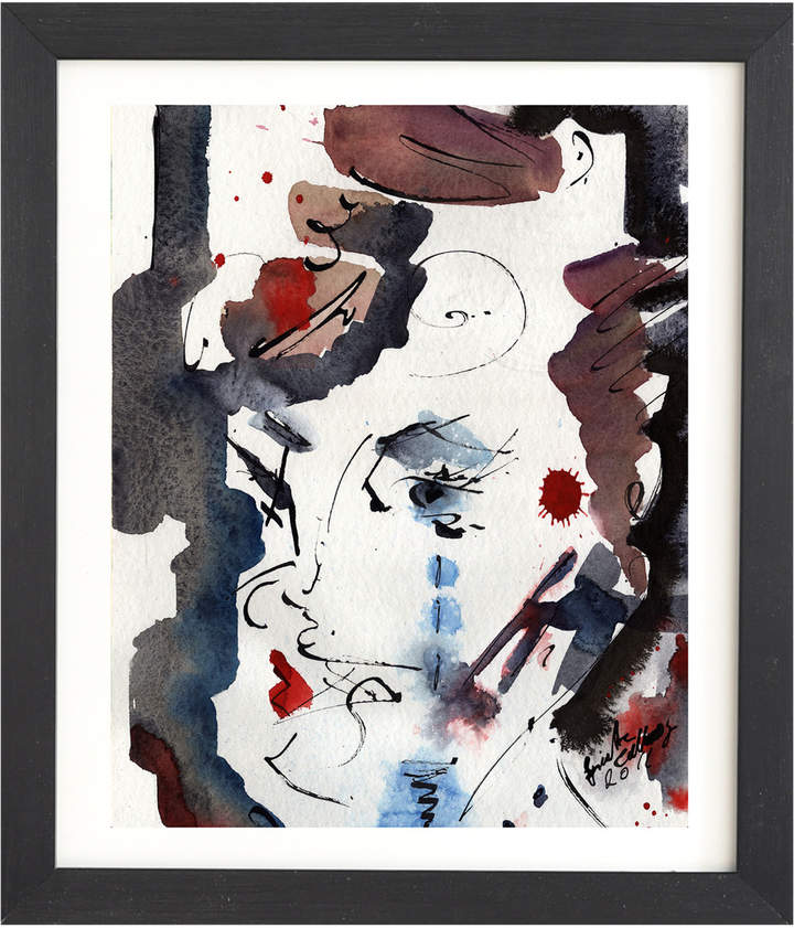 Intuitive Abstract Face by Ginette Fine Art (Framed)