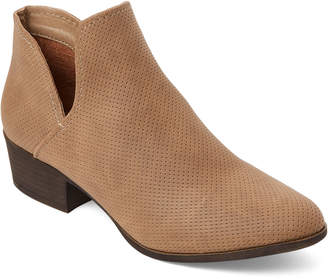 Madden-Girl Taupe Haven Perforated Cutout Booties