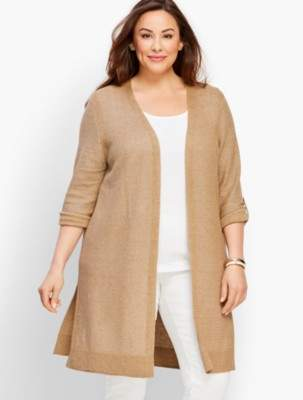 Talbots Textured Linen Roll-Tab Long Duster - Metallic
