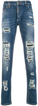 Philipp Plein Ripped Super Straight Cut jeans