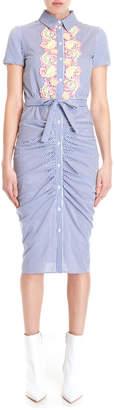 Moschino Striped Ruched Shirtdress