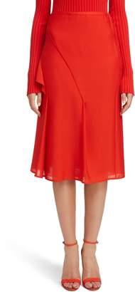 Victoria Beckham Ruffle Silk Midi Skirt