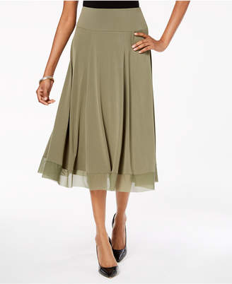 JM Collection Mesh-Hem A-Line Skirt