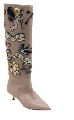 Valentino Garavani Twisteel Tall Beaded Leather Boots