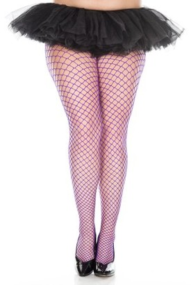 Music Legs Plus size mini diamond net spandex pantyhose 9030Q-PURPLE
