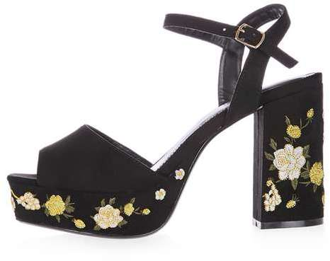 Topshop Topshop Magnolia embroidered platforms