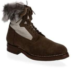 Santoni Shearling-Lined Suede Ankle Boots