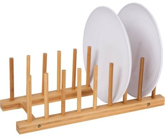 """13"""" Multi-Purpose Bamboo Plate Holder and Pot Lid Organizer by Trademark Innovations"""