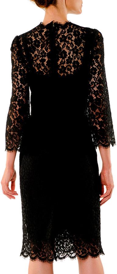 Dolce & Gabbana V-Neck Cordonetto Lace Dress