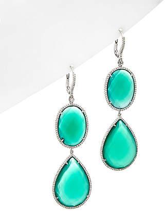 Diana M. Fine Jewelry 18K 56.34 Ct. Tw. Diamond & Green Agate Earrings