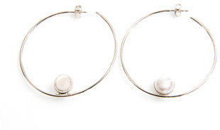 Melanie Georgacopoulos White pearl and gold Arlequin hoop earrings