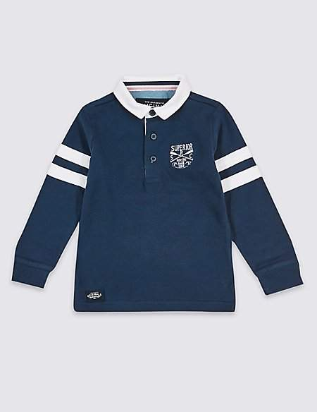 Pure Cotton Striped Rugby Top (3 Months - 7 Years)