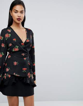 Fashion Union Wrap Blouse In Floral Print