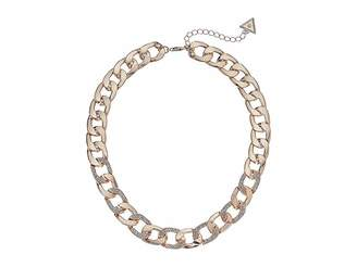 GUESS Chain Link Necklace with Pave Accents 16 with 2 Extender