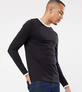Asos Design DESIGN Tall long sleeve t-shirt with crew neck with contrast ringer in black