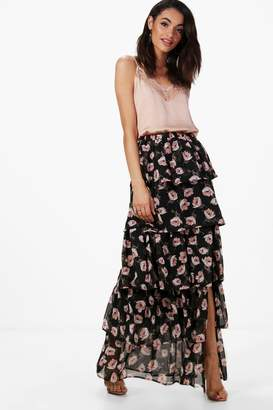 boohoo Large Floral Ruffle Tiered Maxi Skirt