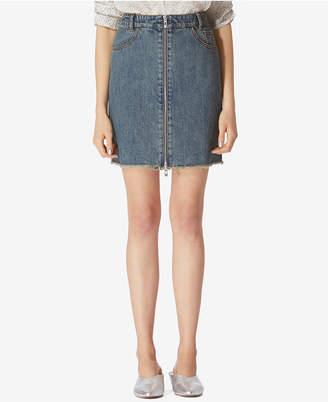 AVEC LES FILLES Denim Zip-Front Cotton Mini Skirt