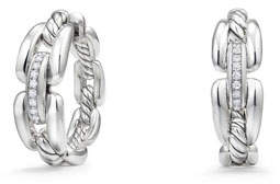 David Yurman Wellesley Sterling Silver Small Hoop Earrings with Diamonds