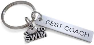 "Coach JewelryEveryday Swim Gift, Appreciation Gift, Engraved ""Best Keychain"