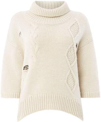 Oui Cable knit sequin detail jumper