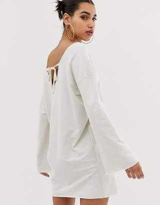 Asos Design DESIGN v front and back raw edged sweat dress