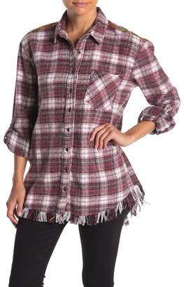 Angie Embroidered Back Flannel Plaid Fringe Shirt