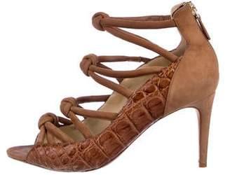 Alexandre Birman Crocodile Caged Sandals