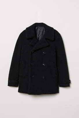 H&M Pile Pea Coat - Blue